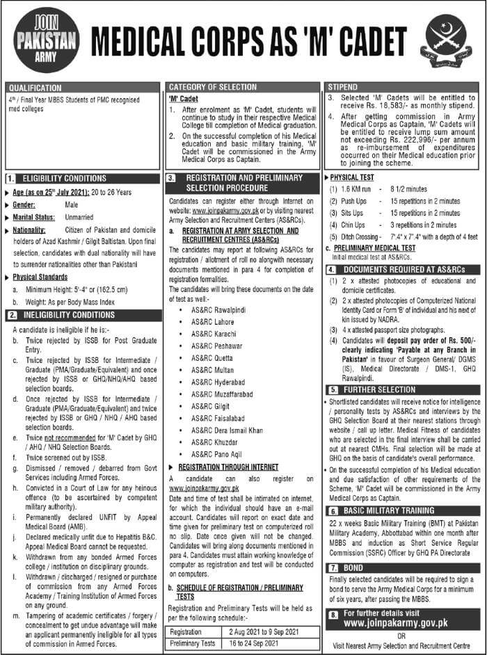Join Pakistan Army As M Cadet 2021 Medical Corps