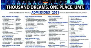 UMT Lahore Fall Admissions 2021 Form Last Date