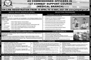 PAF Jobs For Commission In 127 Combat Support Course 2021 Online Registration