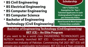 National University of Technology NUTECH Admission 2021