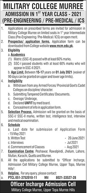 Military College Murree Admission 2021 for 1st Year